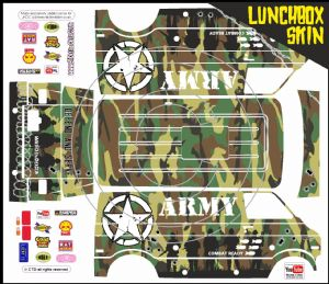 GREEN Army Camo themed vinyl SKIN Kit & Stickers To Fit Tamiya Lunchbox R/C Monster Truck